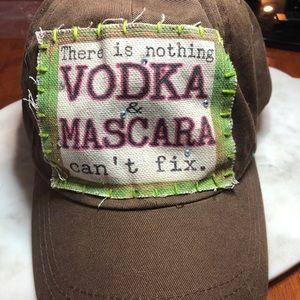 """Vodka and mascara"" Brown sequin Baseball Cap Hat"